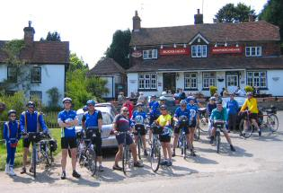 After lunch, outside the pub in Godden Green